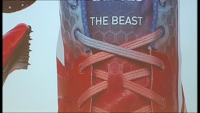 Yohan Blake Adidas press conference Yohan Blake press conference SOT CUTAWAY Backdrop with 'The Beast' writing on image of Yohan Blake's shoes Yohan...