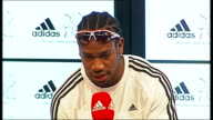 Yohan Blake Adidas press conference Yohan Blake press conference SOT On nickname 'the beast' Yohan Blake question and answer session SOT on lack at...