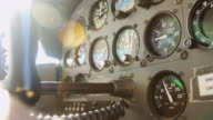 Yoke Pulling Back in Light Aircraft Cockpit