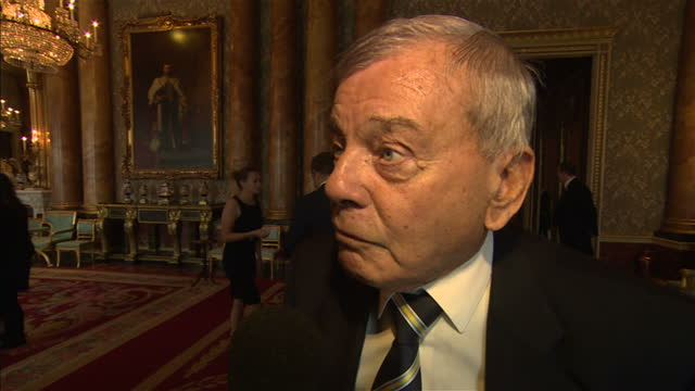 Yorkshire County Cricket Club attend event hosted by Prince Philip at Buckingham Palace Shows interior shot Harold Bird answering question on why it...