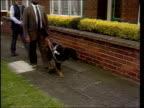 Sheffield 1980s Blunkett walking guide dog along to house