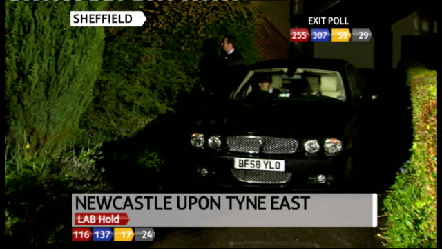 Sheffield EXT / NIGHT / RAINY Car waiting outside Nick Clegg's home to take him to his vote count Birmingham INT Brief shot of second recount of...