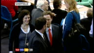 Sheffield Nick Clegg and wife Miriam Gonzalez Durantez chatting to people in counting hall