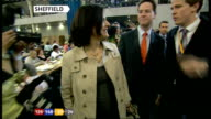 Sheffield Various views of Clegg and his wife arriving at vote count and chatting with party workers **some flash photography**