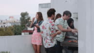 Young adult friends BBQ party on rooftop