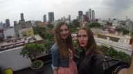 Young adult friends take selfie with smart phone on rooftop