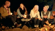 Young adults sit around a camp fire at night
