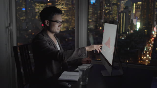 Young Asian Employee Doing Business in Apartment Office with Skyscrapers in the Background. Analyzing Statistics, Charts and Graphs on the Computer Screen.