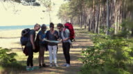 Young backpackers lost in forest
