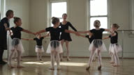 young ballerinas in a dance studio in a circle