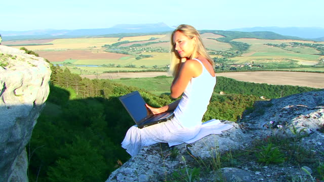 Young beautiful woman using Laptop