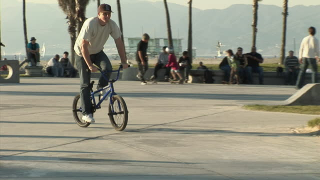 WS, PAN, Young BMX biker riding on rail slide in park, Venice, California, USA
