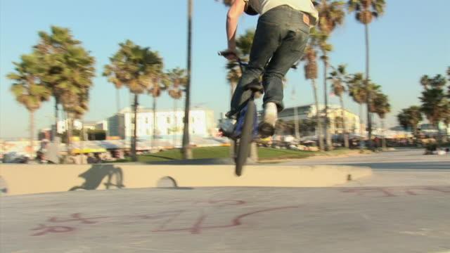 MS, Young BMX biker riding on ramp in park, Venice, California, USA