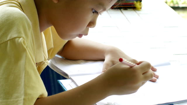 Young boy doing home work