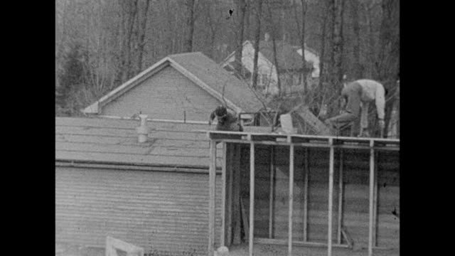 1933 Young Boy Helping Father Build Home Addition