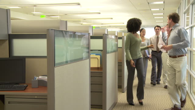 Young business colleagues walking in office setting