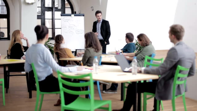 Young businessman holding training