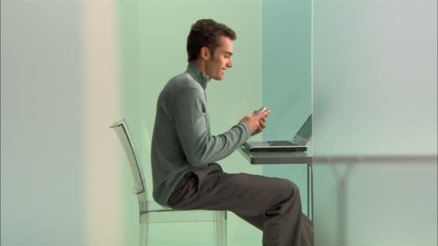 WS DS Young businessman using laptop and talking on phone in modern office