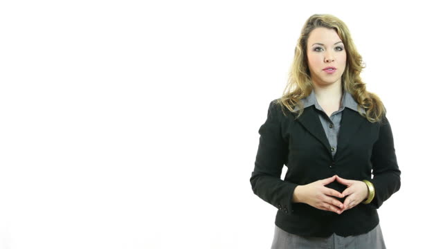 Young businesswoman standing and talking