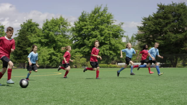 Young children dribbilng a soccer ball up the field during a game