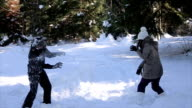 Young couple have fun on snow