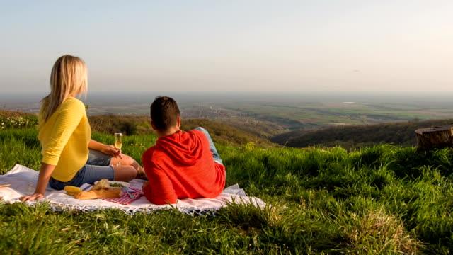 Jong koppel met een picknick in de natuur