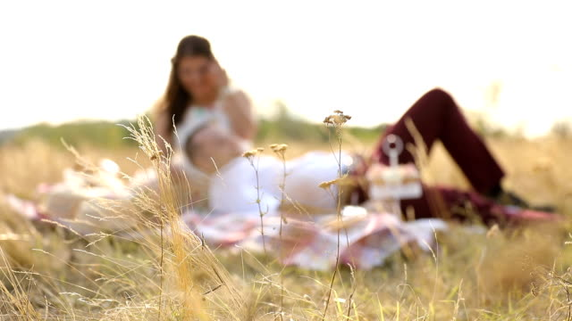 Young couple having a picnic together in park