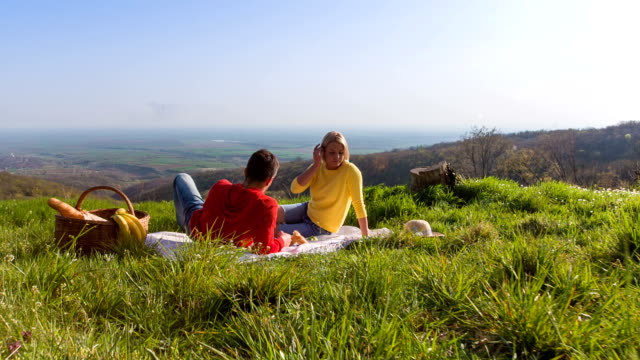 Jong koppel met een romantische picknick in de natuur