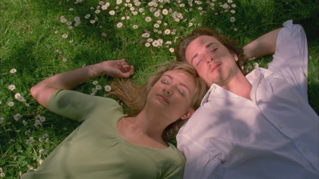 CU, Young couple lying on grass in garden, directly above, Brussels, Belgium