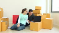 HD: Young couple using a credit card and a laptop to buy furniture for their new home