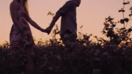 SLO MO Young couple walking in the field at sunset