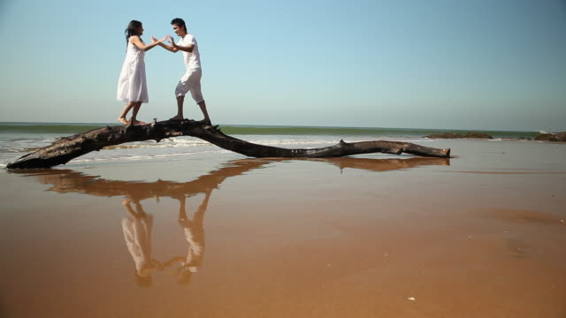 Young couple walking on a fallen tree on the beach
