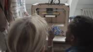 4K: Young Creative People Looking At 3D Printer Printing.