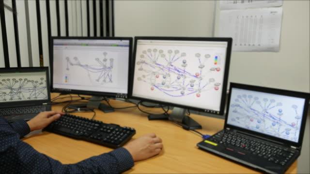 Junger Ingenieur arbeiten mit computer mit Monitoren
