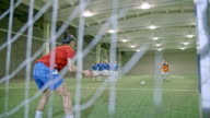 Young female soccer goalie failing to save penalty kick