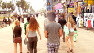 SLOW MOTION - Young Friends Fun Group at Venice Beach, Los Angeles.