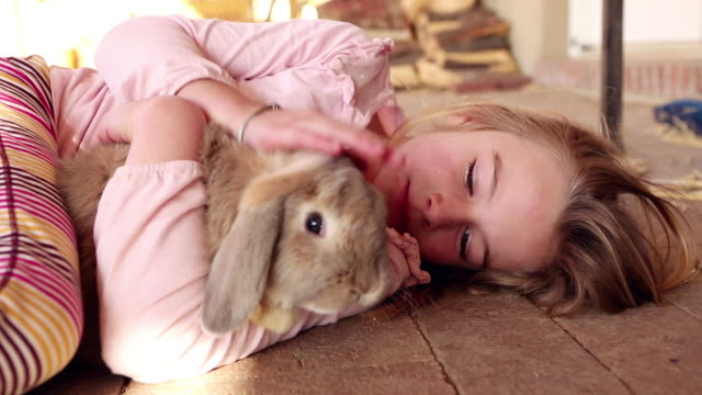MS Young girl and her pet rabbit / Lamy, New Mexico, United States