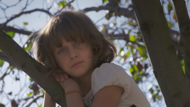 Young girl in tree looks sad.