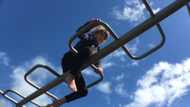 Young girl plays on monkey bars