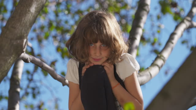 Young girl smiling into camera as she plays in tree comes into focus.