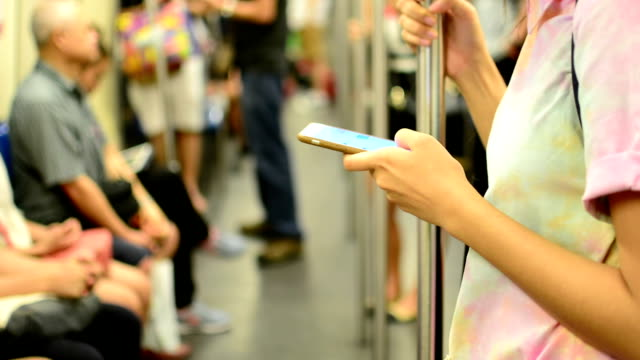 Young girl using smart phone.