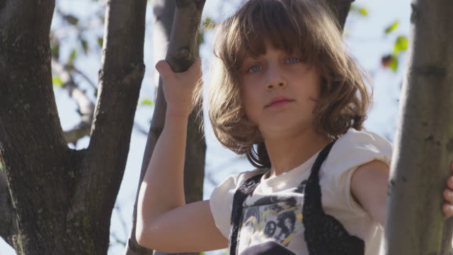Young girl with brown hair and blue eyes plays in tree.