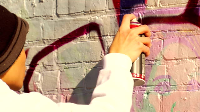Young Graffiti Artist Paints Wall