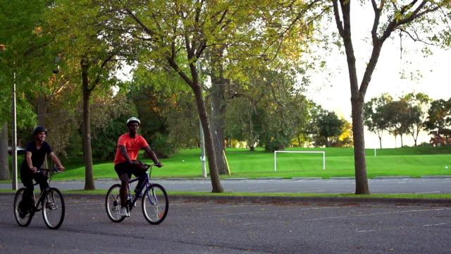 Young grouip of friends biking