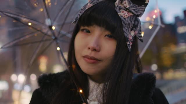 CU A young Japanese woman in Harajuku / Tokyo, Japan