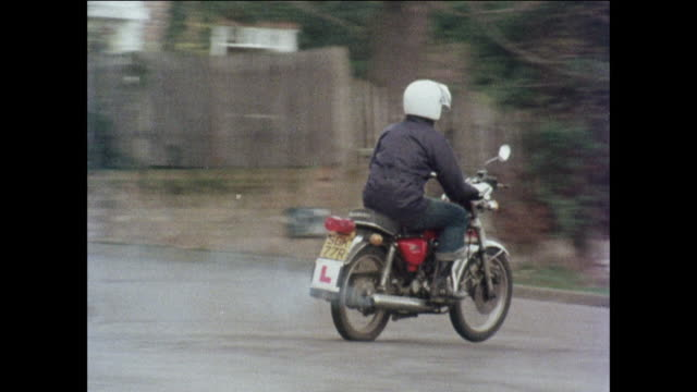 MONTAGE Young man and woman riding motorcycles down neighborhood street / United Kingdom