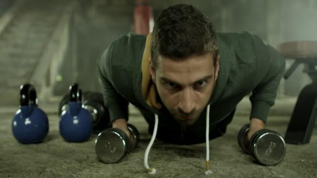 Young man doing push ups