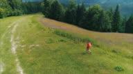 Jongeman, gaande van de rand van een klif op de top van berg met prachtig uitzicht