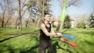 young man juggling,camera stabilization shoot