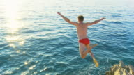 HD SLOW MOTION: Young Man Jumping Into The Sea